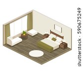 Stock vector hotel room in isometric view with a large double bed soft furniture armchair bedside tables 590675249