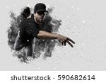 pitcher baseball player with a... | Shutterstock . vector #590682614