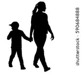 silhouette of happy family on a ... | Shutterstock .eps vector #590684888