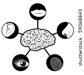 Five senses icons controlled controlled by brain - stock photo