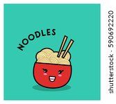 funny japanese noodles in a red ... | Shutterstock .eps vector #590692220