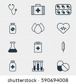 illustration of 12 health icons.... | Shutterstock . vector #590694008
