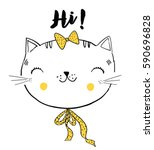 cute cat vector illustration 3 | Shutterstock .eps vector #590696828