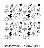space galaxy patch illustration ... | Shutterstock .eps vector #590696840