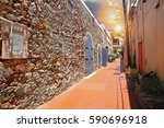 charlotte amalie streets on a... | Shutterstock . vector #590696918