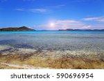 sapphire beach on a saint... | Shutterstock . vector #590696954