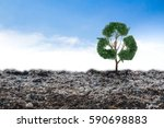 concept recycle big alone tree... | Shutterstock . vector #590698883