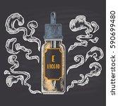 colored bottle of e liquid... | Shutterstock .eps vector #590699480