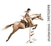sepia watercolor rider girl and ... | Shutterstock . vector #590703998