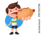 boy with big hot dog. fast food ... | Shutterstock .eps vector #590705708