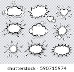 set of vector pop art signs and ... | Shutterstock .eps vector #590715974