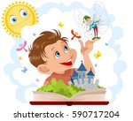 vector illustration of a boy... | Shutterstock .eps vector #590717204