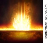 Small photo of Abstract religious background - entrance to hell, end of world, judgment day comes, burning doorway to hell