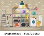 interior of modern storeroom... | Shutterstock .eps vector #590726150