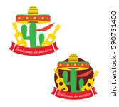 mexican food logo. mexican fast ... | Shutterstock .eps vector #590731400
