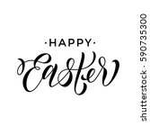 happy easter text lettering on... | Shutterstock .eps vector #590735300