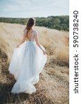 bride in wedding dress goes on... | Shutterstock . vector #590738240