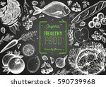 healthy food frame vector... | Shutterstock .eps vector #590739968