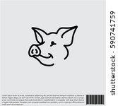 web line icon. pig  livestock | Shutterstock .eps vector #590741759