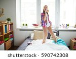 ginger haired teen girl... | Shutterstock . vector #590742308