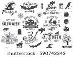 halloween vintage icon  emblem... | Shutterstock . vector #590743343