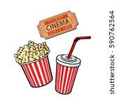 cinema objects   popcorn bucket ...   Shutterstock .eps vector #590762564