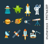 cosmos set concept. set on a... | Shutterstock .eps vector #590766389