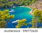 secret turquoise beach yachting ... | Shutterstock . vector #590772620