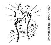 Headphones Doodle Sketch Style...