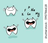cute tooth character set with... | Shutterstock .eps vector #590786618