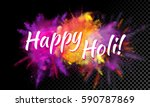 happy holi text on color powder ... | Shutterstock .eps vector #590787869