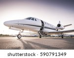 Luxury business jet ready for boarding - stock photo