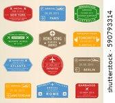 visa stamp set. passport travel ... | Shutterstock .eps vector #590793314