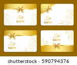 golden gift card set with curl... | Shutterstock .eps vector #590794376