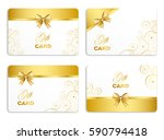 golden gift card set with curl... | Shutterstock .eps vector #590794418