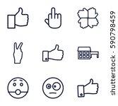 gesture icons set. set of 9... | Shutterstock .eps vector #590798459