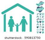 family cabin icon with bonus... | Shutterstock .eps vector #590813750