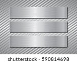 three silver plaques  | Shutterstock .eps vector #590814698