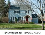 Blue Two Story House With...