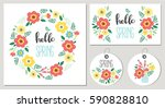 hello spring floral card set.... | Shutterstock .eps vector #590828810