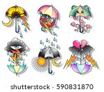 vector umbrellas set... | Shutterstock .eps vector #590831870