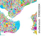 istanbul colorful vector map ... | Shutterstock .eps vector #590833304
