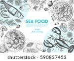 vintage seafood frame vector... | Shutterstock .eps vector #590837453