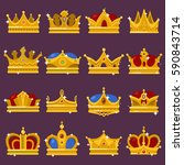 royal crown  king or prince ... | Shutterstock .eps vector #590843714