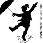 girl with umbrella silhouette   ... | Shutterstock .eps vector #590843780