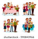 family with children or kids... | Shutterstock .eps vector #590843966