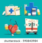 ambulance or emergency car or... | Shutterstock .eps vector #590843984