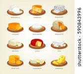 mozzarella cheese and parmesan... | Shutterstock .eps vector #590843996