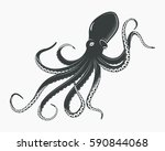 underwater monster with suction ... | Shutterstock .eps vector #590844068