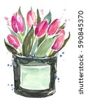 Watercolor Pink Tulips Box.